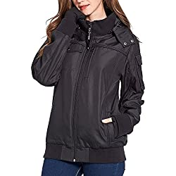 BOMBAX Women Travel Jacket,Fall Winter Packable Flight Bomber Jacket Outwear With 10 Hidden Pockets& Inflatable Pillow Female Wrinkle Free Slim Fit Windbreaker Coats Hoodies (L)