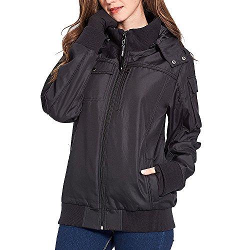 BOMBAX Women Travel Jacket,Fall Winter Packable Flight Bomber Jacket Outwear With 10 Hidden Pockets& Inflatable Pillow Female Wrinkle Free Slim Fit Windbreaker Coats Hoodies - Hood Air By Sunglasses