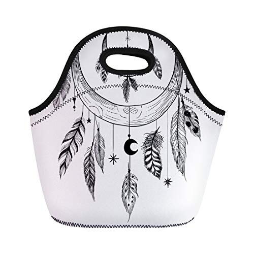Semtomn Neoprene Lunch Tote Bag Tattoo Detailed Mystical Feathers Beads Moons Stars and Crystals Reusable Cooler Bags Insulated Thermal Picnic Handbag for - Rosary Beads Tattoo