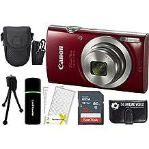 CanonPowerShot ELPH 180 20MP 8x Zoom Digital Camera (Red) + 32GB Card + Reader + Case + Accessory Bundle