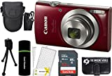 Canon PowerShot ELPH 180 20MP 8x Zoom Digital Camera (Red) + 32GB Card + Reader + Case + Accessory Bundle