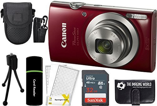 Canon PowerShot ELPH 180 20MP 8x Zoom Digital Camera (Red) + 32GB Card...