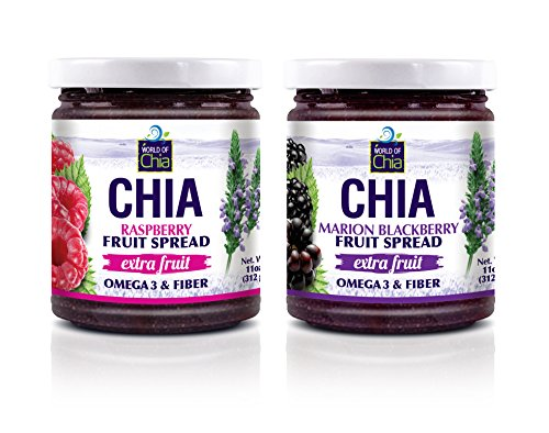 World of Chia 2 Piece Chia Extra Fruit Spread, Raspberry & Marionberry, 22 Ounce (Pack of 6) by World of Chia