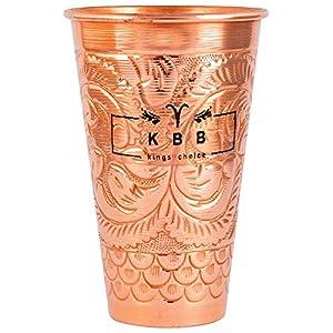 KBB Embossed Leaf Design Jumbo Copper Glass/Tumbler (550 ml ;KBB015) (Pack of 1)
