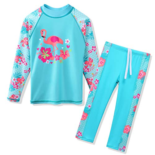 TFJH E Swimsuits for Girls Long Sleeve 2-Pieces Kids Sun Protection Beachwear Sunsuits 8-9years,Cyan Swan 10A ()