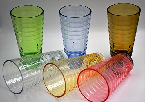 ActiveFloo Break-Resistant Premium Quality Cup BPA Free Plastic Glasses / Acrylic Tumblers Set of Six 22oz, 18.5oz, 9.5oz Assorted Colors For Water, Iced Tea, Cocktail, Beer, Hot/Cold Beverages (Smoking Apple Bowl)