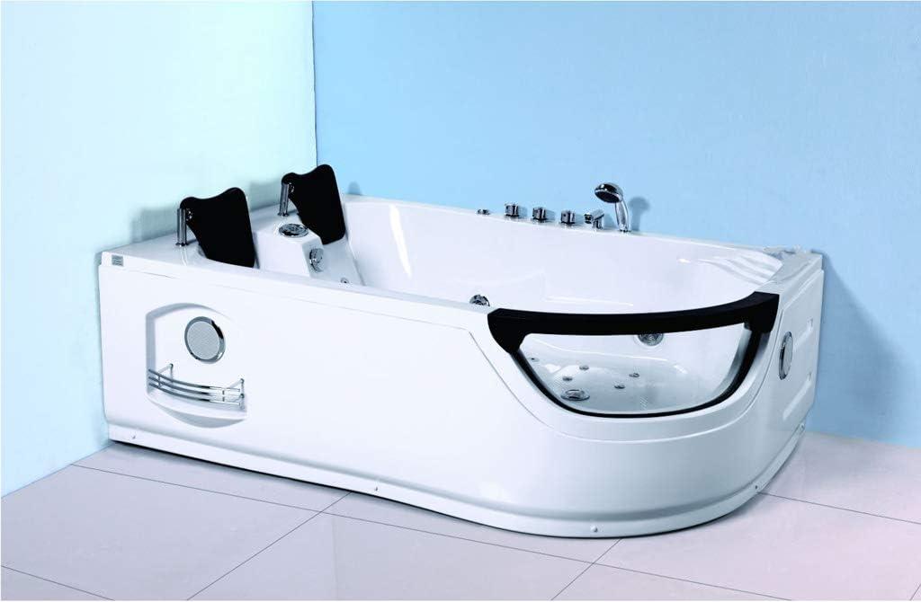 SDI Factory Direct 2 Person Corner Hydrotherapy Whirlpool Bathtub Spa Massage Therapy Hot Bath Tub w/Heater. LED Lights, Bluetooth, Remote Control - SYM634L