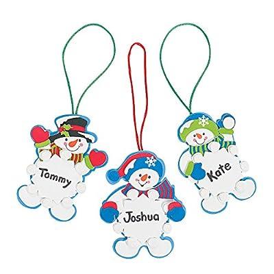 Set of 12 Snowman Snowflake Christmas Ornament Foam Craft Kit