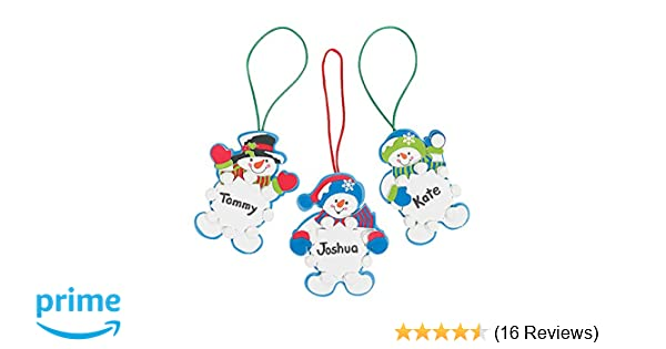 1dab65c5f Amazon.com: Set of 12 Snowman Snowflake Christmas Ornament Foam Craft Kit:  Home & Kitchen