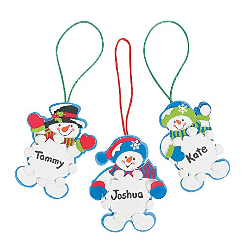 Set of 12 Snowman Snowflake Christmas Ornament Foam Craft Kit