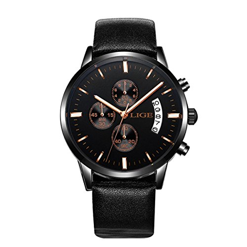 ALIENWOLF Men's Wrist Watch Chronograph Slim Thin Business Quartz Analog Date Display with Black Leather Strap (Black) - Strap Date Display