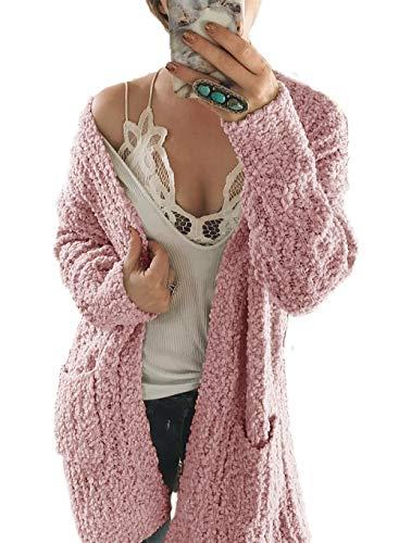 (HZSONNE Womens' Boho Fuzzy Knitted Cardigan Chunky Sweater Sherpa Fleece Pointelle Full Sleeve Blouse (PinkPurple,)