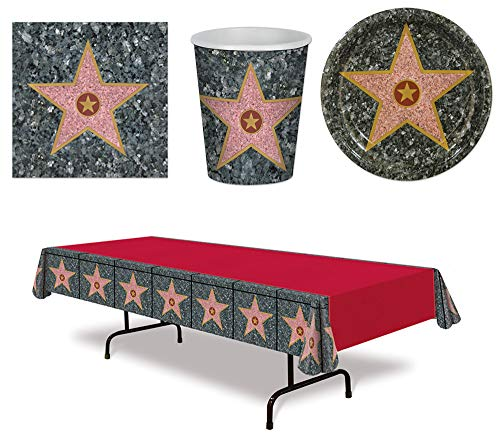 Movie Awards Night Star Red Carpet Plates Napkins Cups Tablecover 49 Piece Bundle ()