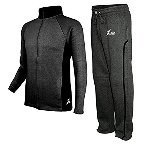 SkylineWears Mens Athletic Fleece Tracksuit Jogging Sweatsuit Activewear CharBlack XXL