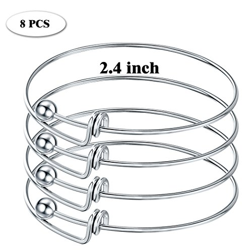 Sromay 8 Pieces Ball Closure Expandable Stainless Steel Wire Bangle Bracelet Blanks for DIY Jewelry Making, 2.4 (Ball Closure)