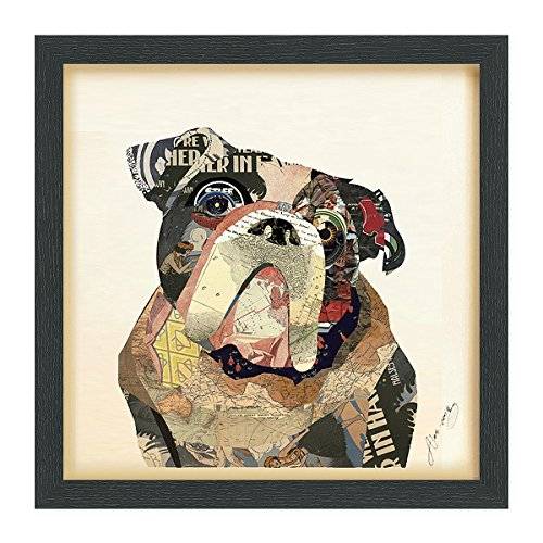 (Empire Art Direct English Bulldog Dimensional Art Collage Hand Signed by Alex Zeng Framed Graphic Dog Wall Art, 17