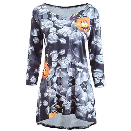 kaifongfu Women Hollaween Pumpkin Dress,Long Sleeve O-Neckline Women Mini Dress(Black,S) -