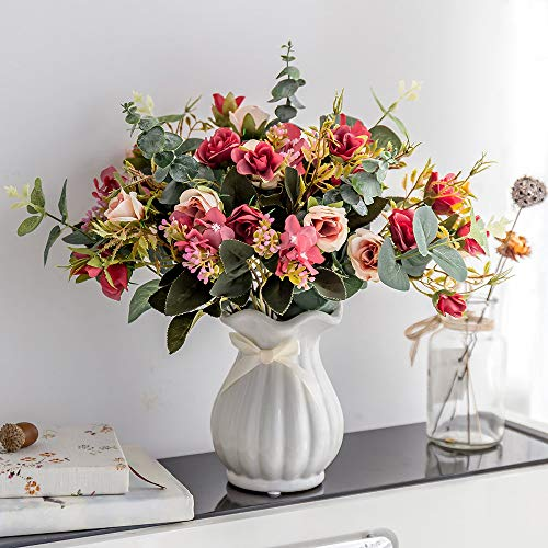 YILIYAJIA Artificial Rose Bouquets with Ceramics Vase Fake Silk Rose Flowers Decoration for Table Home Office Wedding (Dark red) (Flower Arrangement Tall)