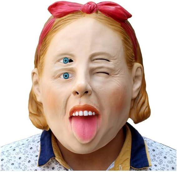 CLHCilihu Peluca de Terror de Halloween, máscara de niña de Terror Lengua de Ojos múltiples Foro Ojos Azules Novedad Mascarada Parodia Adulto Juego de rol de látex