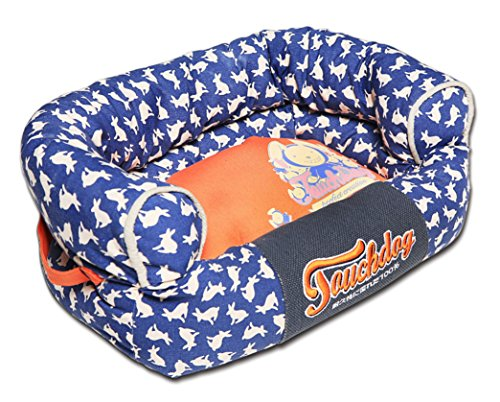 TOUCHDOG 'Lazy-Bones' Rabbit-Spotted Premium Easy Wash Fashion Designer Couch Pet Dog Bed Lounge, Large, Ocean Blue, Orange