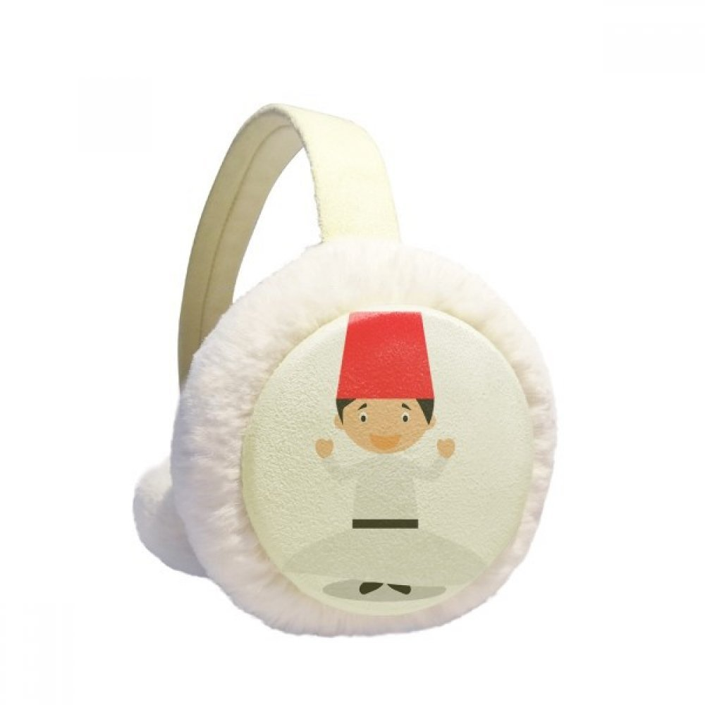 White Whirling Dervishe Cartoon Winter Earmuffs Ear Warmers Faux Fur Foldable Plush Outdoor Gift