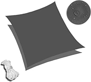 Sunnykud 10'x10' Square Dark Gray Waterproof Sun Shade Sail Canopy Perfect for Outdoor Garden Patio Permeable UV Block Fabric Up to 90% UV Protection