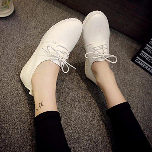 Amiley Dames Flats Lederen Slip Comfort Schoenen Lace-up Platte Schoenen Loafers Wit