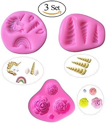 Unicorn - Moldes de silicona para repostería, fondant, jabón de chocolate, silicona, rosa, 3 Set