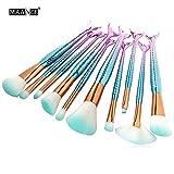 MAANG 10pcs Mermaid Makeup Brush Set Synthetic Foundation Blending Blush Eyeliner Face Powder Brush Makeup Brush Kit