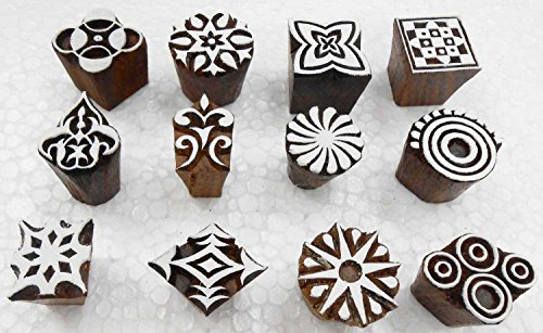 Wholesale Pack of 12 Wooden Block Printing Stamps for Textile Designing/ Henna Tattoo/ Crafts Printing pattern for Saree/ Home - Block Printing Stamps