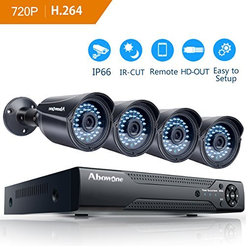 Security Camera System,Abowone 8CH 1080N CCTV DVR Recorder And 4 x 720P(1280TV line)Outdoor Video Surveillance Cameras /65ft Night Vision by Abowone
