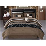 JBFF Luxury Embroidery Bed in Bag Microfiber Comforter Set, King, Coffee, 7 Piece