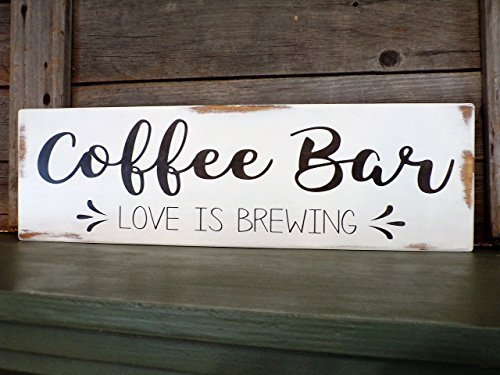 Rustic Coffee bar Sign - Coffee bar Love is Brewing Sign - Painted Wood Sign ()
