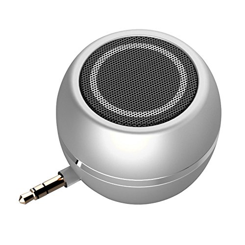 - Rumfo Mini Phone Speaker Portable Wireless Plug in Speaker with 3.5mm Aux Audio Jack Rechargeable Plug and Play Clear Bass Speaker Universal For Cell Phone iPad MP3 MP4 Tablet Computer (Silver)