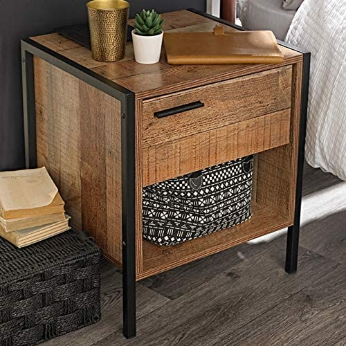 Industrial Rustic Reclaimed Oak Effect Bedside Cabinet Lamp End Table UK SUPPLIER **Full Range of Matching HOXTON Furniture is Available ** LHOXTONCAB