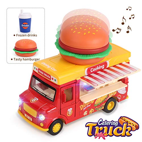 REMOKING Fast Food Car Toy, Stem Alloy Dining Pull-Back Magnetic Induction Car, - Toys Truck Kids Food