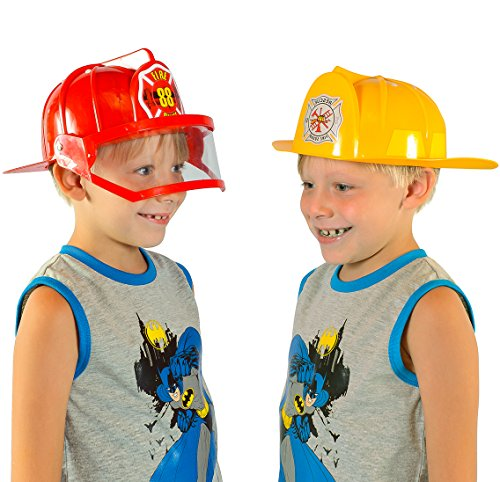 Fireman Costume - 2 Pack Fireman Helmet- Red and Yellow Fire Helmets for Dress Up by (Yellow Fireman Hat)