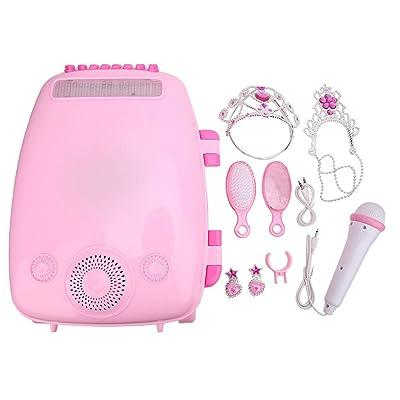 Zerodis- Máquina de Karaoke para niños, Maleta de Equipaje portátil para Cantar Máquina de Karaoke móvil Juguete de Regalo de música con micrófono para niños(Oso)