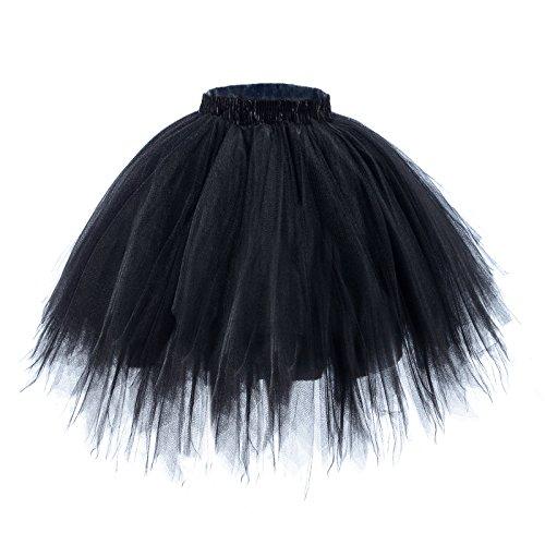 (AWAYTR Women's Short Ballet Tutu Skirt - Elastic Vintage Petticoat Adult Bubble Skirt (Black,)