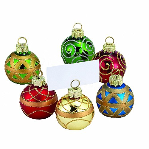 Kurt Adler Glass Place Card Holder Ornament, 1.57-Inch, Set of 6 (Christmas Place Holders Card)