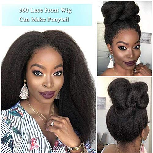 - Human Hair 360 Lace Frontal Wigs Yaki Straight 16 Inch Brazilian Virgin Human Hair Lace Front Wigs Pre Plucked with Baby Hair For Black Women Natural Hairline(16 inch 360 Lace Front wigs)