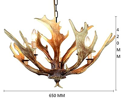 EFFORTINC Vintage Style Resin Deer Horn Antler Chandeliers,5 Lights(Bulbs Not Included)