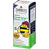 Zarbee's Naturals Children's Cough Syrup + Mucus Nighttime with Dark Honey & Ivy Leaf, Natural Grape Flavor, 4 Ounce Bottle