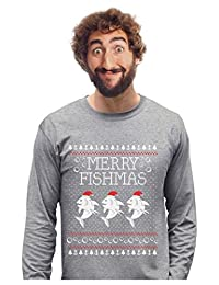 Merry Fishmas Fishing Ugly Christmas Sweater Funny Xmas Long Sleeve T-Shirt
