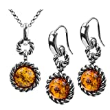 Amber Sterling Silver Round Victorian-style Set Hook Earrings Pendant Necklace Chain 18''