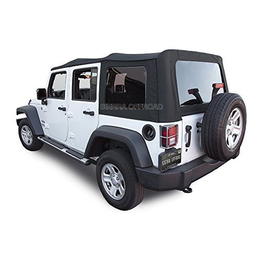 Sierra Offroad Factory Style Soft Top Replacement with Tinted Windows, compatible with 2010-2018 Jeep Wrangler JK Unlimited (4 Door), Black Sailcloth