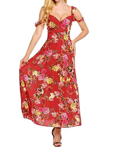 Dress Maxi Party Print Women's Boho Red Floral Spaghetti Casual Straps Beyove Flowy SOqw7