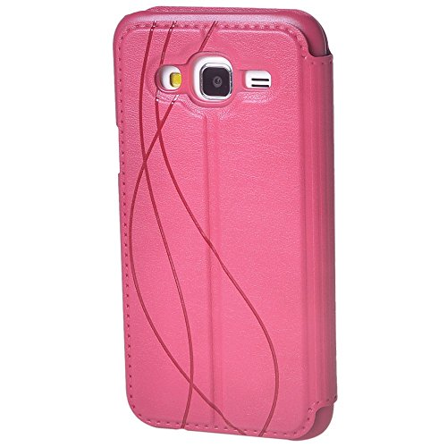 Galaxy J5 Funda,COOLKE [Rose] Ultra Delgado Flip Folio View Window Funda Carcasa Protective Case Cover Para Samsung Galaxy J5 Rose