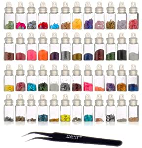 SHANY Cosmetics  3D Nail Art Decoration Mini Bottles with Nail Art Tweezer, 48 Count