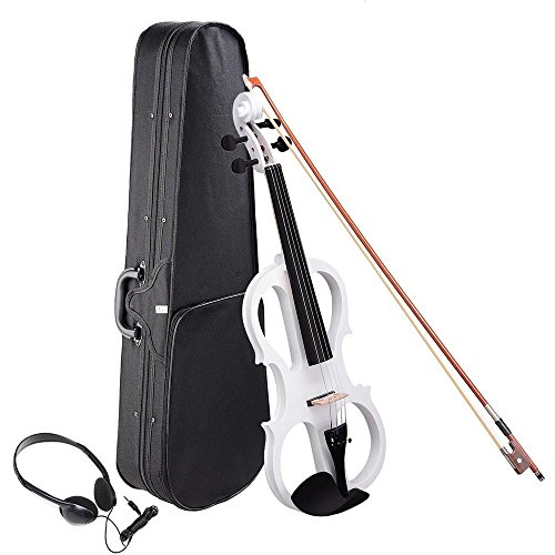 GHP White 4/4 Right Hand Full Size Basswood & Maple Electric Violin w Horsetail Bow by Globe House Products